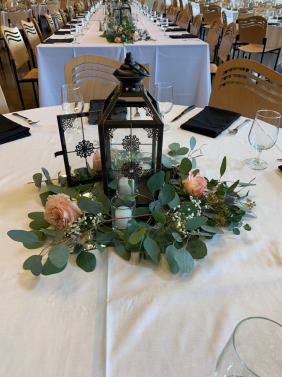 Lantern Centerpiece with Eucalyptus