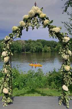 Hydrangea Archway Overlooking the River