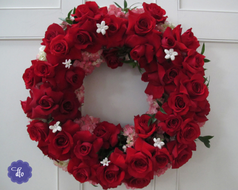 Fresh Red Roses Wreath
