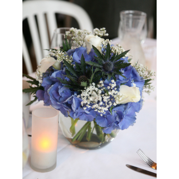 Blue Hydrangea and Thistle with Babysbreath
