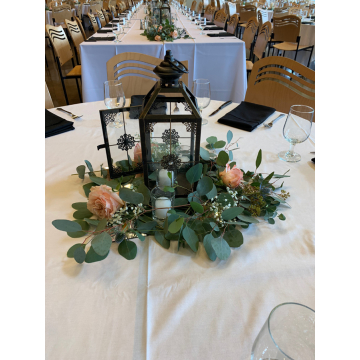 Lantern Centerpiece with Eucalyptus