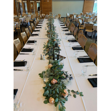Barron's Table with Eucalyptus and roses