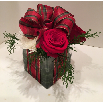 Its a flower arrangement that looks like a gift!